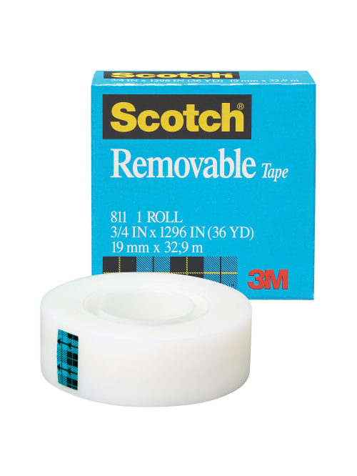 scotch magic 811 removable tape 3 4 x 1296 clear pack of 2 rolls item 706260