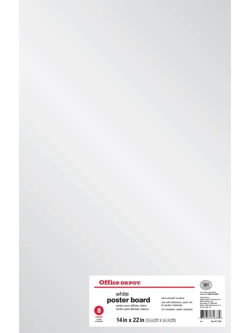 office depot brand poster boards 14 x 22 white pack of 8 item 977994