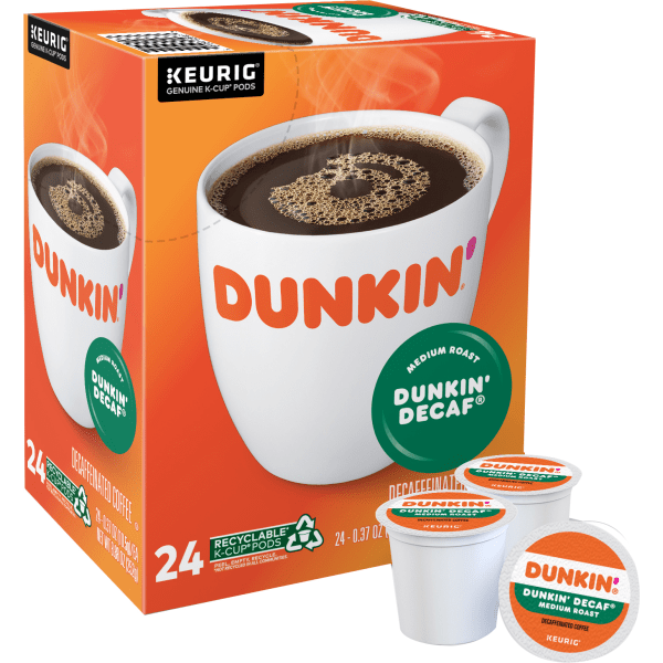 Enjoy a delicious start to your day with these Dunkin' Donuts coffee K-Cup Pods. Each 1 contains just the right amount of beans to create a single steaming cup of coffee, so you can get going quickly.  100% Arabica beans offer a bold taste morning, noon or night.  Precisely measured pods help you create a single delicious cup of coffee without any fuss or mess.  Dunkin' Donuts is not affiliated with Keurig or K-Cup. K-Cup is a registered trademark of Keurig Incorporated.  Dunkin' Donuts decaf coffee K-Cup Pods provide the delicious taste you're craving without the unwanted jolt of caffeine.  Includes a box of 24 decaf coffee pods.