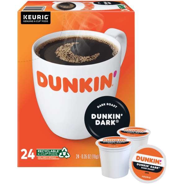 Enjoy a smooth, delicious cup of coffee at the start of a busy day. These Dunkin' Donuts coffee pods let you quickly make a single serving with virtually no fuss or mess.  Easy-to-use Dunkin' Donuts coffee K-Cup Pods have just enough beans to create a single delicious cup.  Cleans up quickly - just toss the used pod away.  Dunkin' Donuts is not affiliated with Keurig or K-Cup. K-Cup is a registered trademark of Keurig Incorporated.  Dark roast coffee K-Cup Pods give you the kick you need to make it through the day.  Includes a box of 24 dark roast coffee pods.