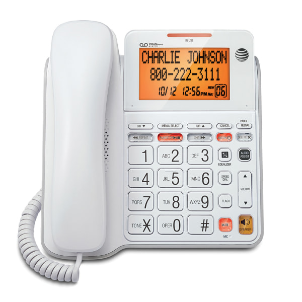 Corded, digital answering system features an extra-large tilt display for easy viewing, speakerphone, audio assist, extra-large buttons, an extra-loud ringer, visual ringer indication and Caller ID/Call Waiting.  Speakerphone allows you to speak and listen without holding the handset.  This leaves your hands free to do other things and lets more people participate in the conversation.  Audio Assist temporarily increases overall volume and enhances sound frequencies that make speech easier to understand.  Corded phone also offers a 25-name/number phonebook directory  50-name/number Caller ID history  10-number speed dial  equalizer  redial  flash  mute  English/Spanish/French setup menu  25-minute digital recording time  Call Screening/Intercept  Remote Access with Toll Saver  time/day stamp  audible message alert  Message Guard Memory for power failures  and memo recording.  Energy efficient - designed to use less energy than alternative products, potentially helping you save money and reduce your carbon footprint.  ENERGY STAR certified - meets federal guidelines for energy efficiency.