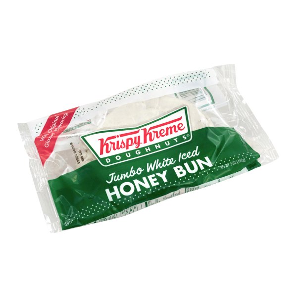 Let Krispy Kreme satisfy your sweet tooth. Great for your morning coffee or a dessert after lunch, these honey buns are coated in sweet, delicious icing.  Honey bun offers a tasty indulgence.  White icing sweetens this treat.
