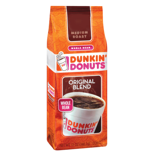 Make your favorite Dunkin' Donuts coffee right at home. With a bag of this Original Blend Whole Bean Coffee, you can grind and brew the delicious flavor in your own kitchen. The beans are packaged in a resealable bag for long-lasting freshness.  Dunkin' Donuts original blend coffee.  100% premium Arabica coffee.  Roasted whole beans.  Rich, bold flavor.  Resealable bag keeps the beans fresh.  Includes 1 bag of Dunkin' Donuts whole bean coffee.