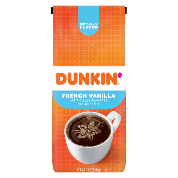 Enjoy creamy french vanilla flavor anytime, anywhere.  The same coffee you know and love - now with a vanilla twist!  Treat yourself and your guests to relaxing breaks with Dunkin' Donuts� flavor.  Resealable bag helps to ensure fresh coffee with each use.  Made from 100% Arabica beans.  Makes up to forty 6-oz cups of coffee.
