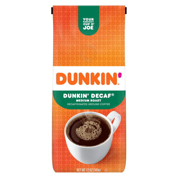 Get the famous Dunkin' Donuts� taste without the caffeine.  Naturally decaffeinated using only pure water and natural ingredients.  Blended and medium-roasted to bring out the fullest flavor.  12 oz. resealable bag helps to ensure fresh coffee every time.  Makes up to forty 6-oz cups of coffee.