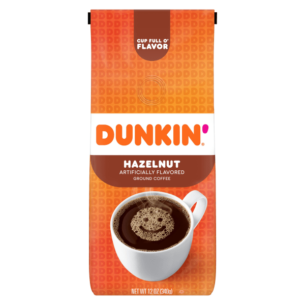 Love the taste of hazelnut in your coffee? Brew a cup of Dunkin' Donuts Hazelnut Coffee. It's the same Dunkin' Donuts coffee you know and love, but in a convenient bag you can make at home. Made from 100% Arabica beans, this medium roast provides the flavor and energy you need to start the day.  Hazelnut flavor.  Kosher medium-roast ground coffee.  100% premium Arabica beans.  Resealable bag preserves freshness.  Makes about forty 6-oz cups of coffee per bag.  Includes 1 bag of Dunkin' Donuts ground coffee.