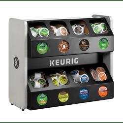 keurig premium 8 sleeve k cup pod storage rack 18 3 8 h x 16 3 8 w x 21 1 4 d black silver item 8341168
