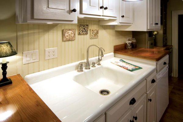 farmhouse kitchen sink with drainboard Adventures in Installing a Kitchen Sink - Old-House Online