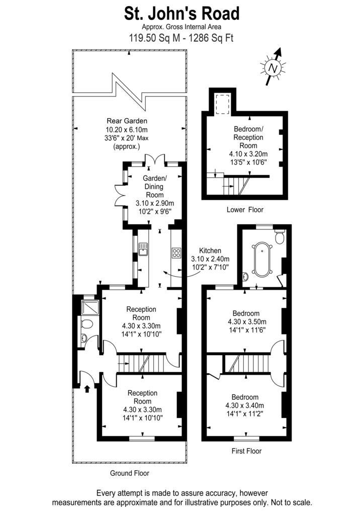 St. John's Road, Hampton Wick KT1 3 bed semi-detached