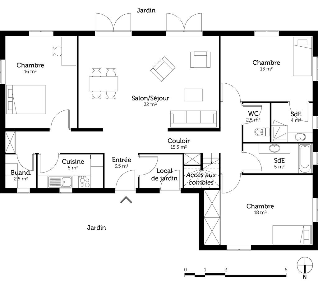 Plan Maison 3 Chambres 2 Salles De Bain