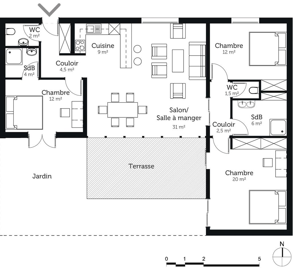 Plan maison de plainpied 100 m avec 3 chambres  Ooreka