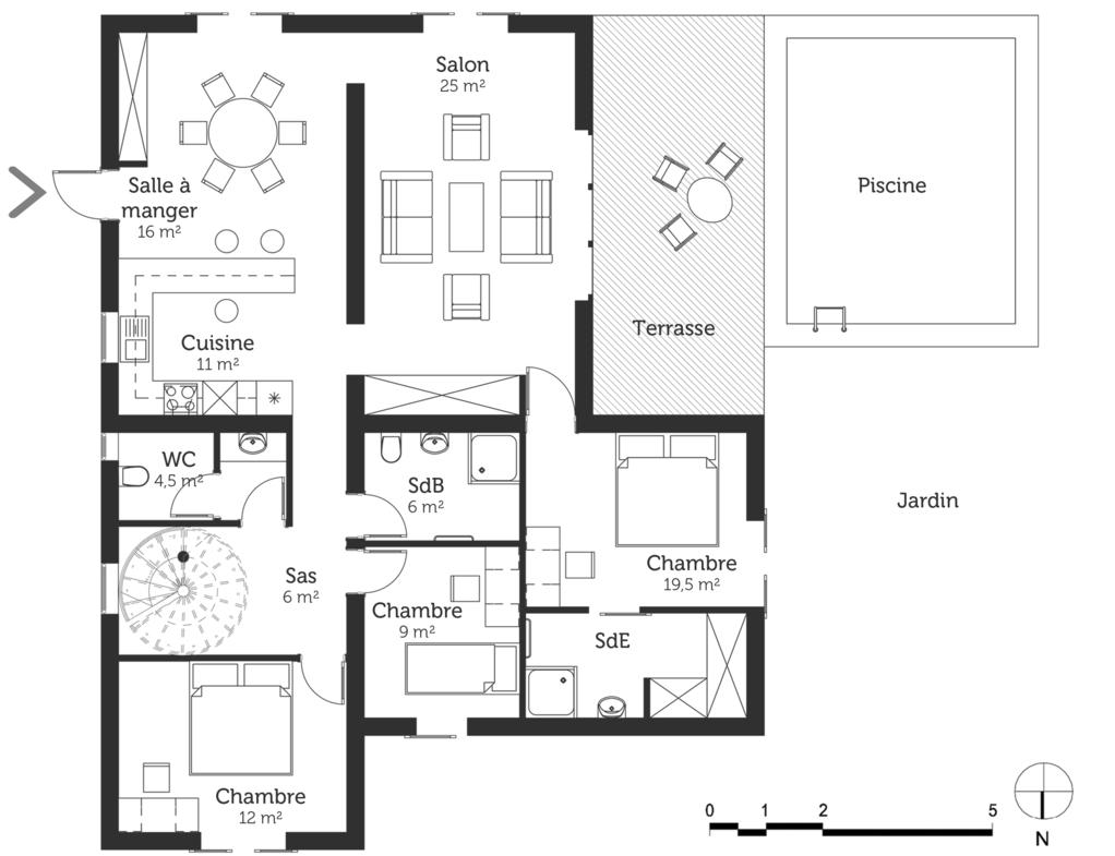 Architecte plan maison dessin technologue plan maison for Plan maison architecte