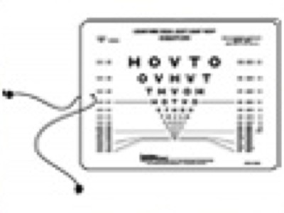 HOTV Eye Test Chart for Near Distance, Single Sided from