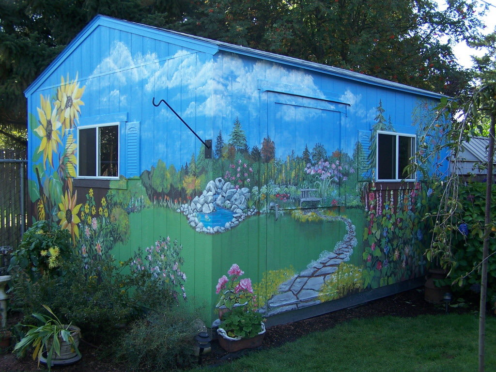 Outdoor murals dress up sheds, garages and blank walls