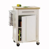 Three wood-topped kitchen carts on casters in budget ...