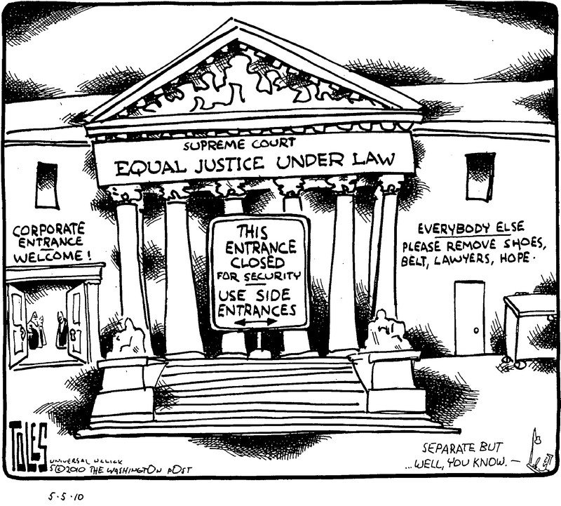 Cartoons: A side entrance to the courts, capping the