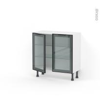 meuble haut bas cuisine vitre porte