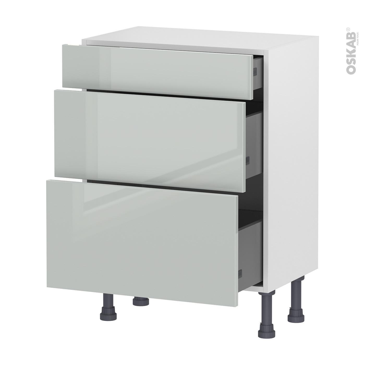 meuble de cuisine bas ivia gris 3 tiroirs l60 x h70 x p37 cm