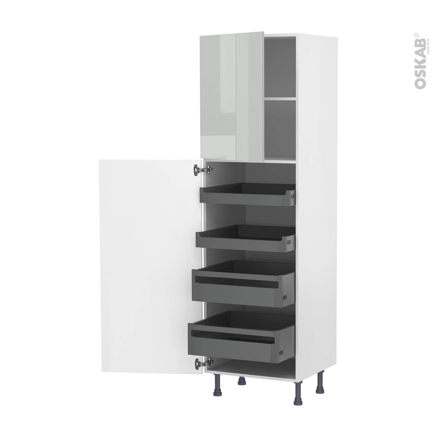 colonne de cuisine n 2127 armoire de rangement ivia gris 4 tiroirs a l anglaise l60 x h195 x p58 cm