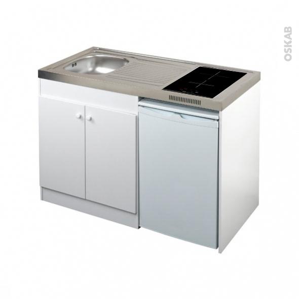 kitchenette induction meuble sous evier blanc avec refrigerateur l120 x h93 x p60 cm sokleo