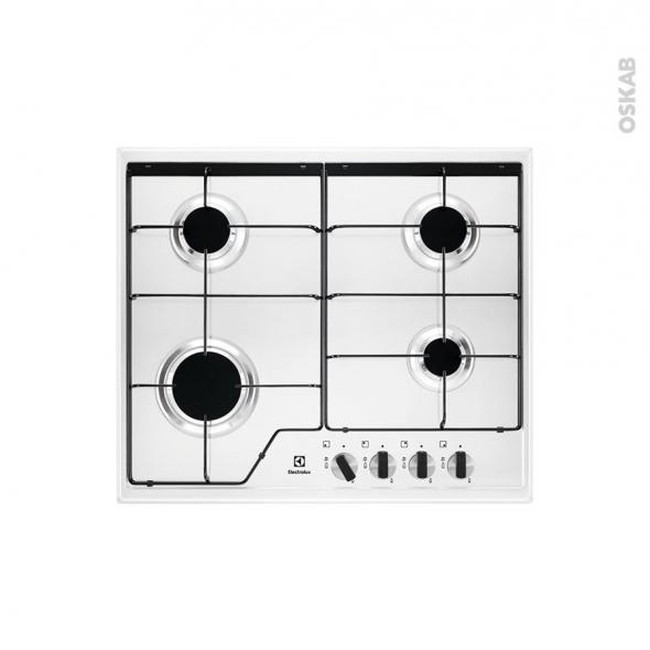 plaque de cuisson 4 feux gaz 60 cm email blanc electrolux kgs6424w
