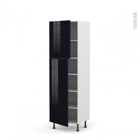 colonne de cuisine n 2721 armoire frigo encastrable keria noir 2 portes l60 x h195 x p58 cm
