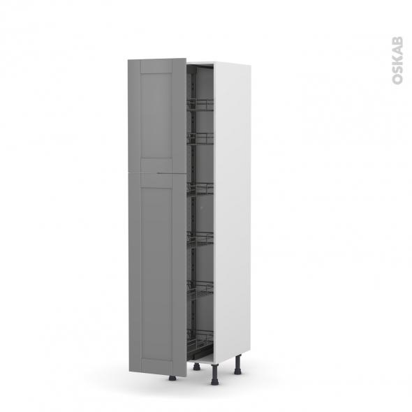 colonne de cuisine n 2619 armoire de rangement filipen gris 6 paniers plateaux l40 x h195 x p58 cm