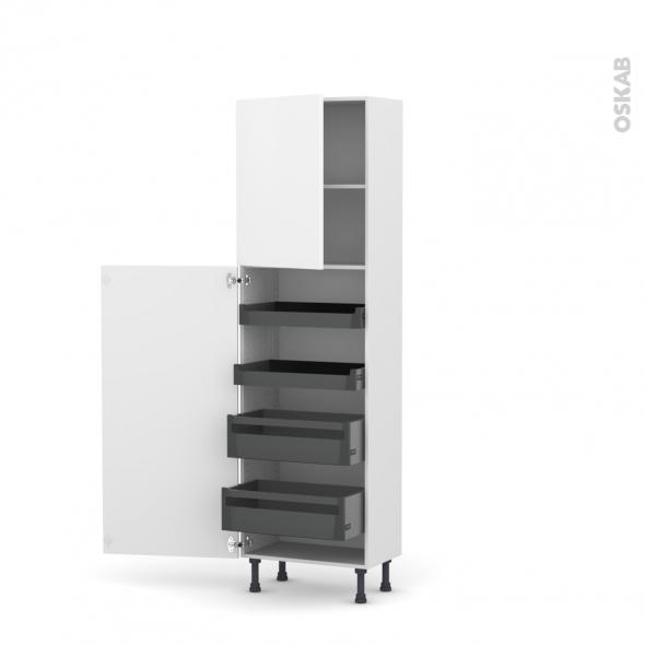 colonne de cuisine n 2127 armoire de rangement ginko blanc 4 tiroirs a l anglaise l60 x h195 x p37 cm