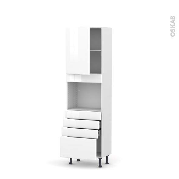 colonne de cuisine n 2159 four encastrable niche 45 iris blanc 1 porte 4 tiroirs l60 x h195 x p37 cm