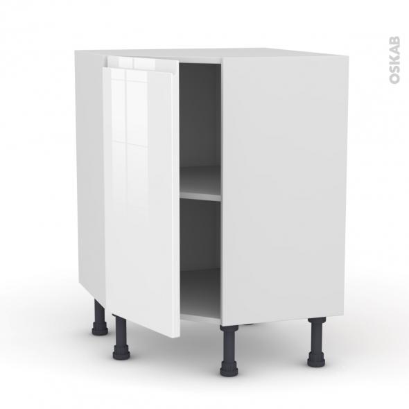 meuble de cuisine angle bas ipoma blanc brillant 1 porte n 19 l40 cm l65 x h70 x p37cm