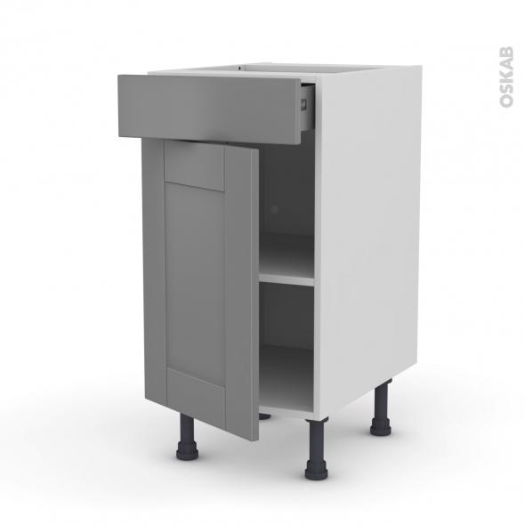 meuble de cuisine bas filipen gris 1 porte 1 tiroir l40 x h70 x p58 cm