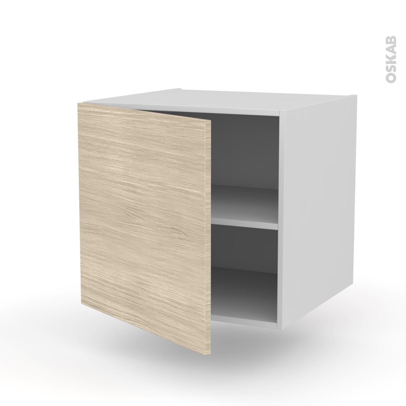 meuble de cuisine bas suspendu stilo noyer blanchi 1 porte l60 x h57 x p58 cm