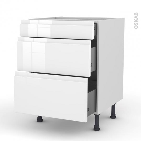 meuble de cuisine casserolier ipoma blanc brillant 3 tiroirs l60 x h70 x p58 cm