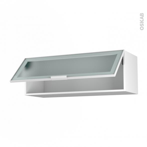 meuble de cuisine haut abattant vitre facade blanche alu 1 porte l100 x h35 x p37 cm sokleo