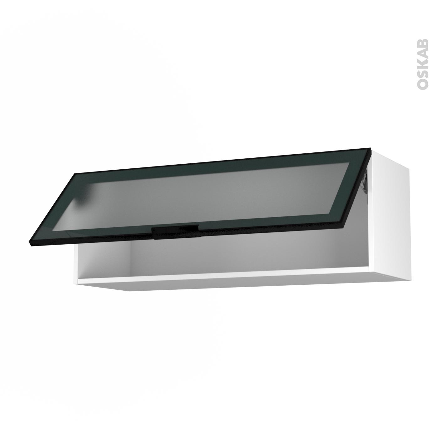 meuble de cuisine haut abattant vitre facade noire alu 1 porte l100 x h35 x p37 cm sokleo