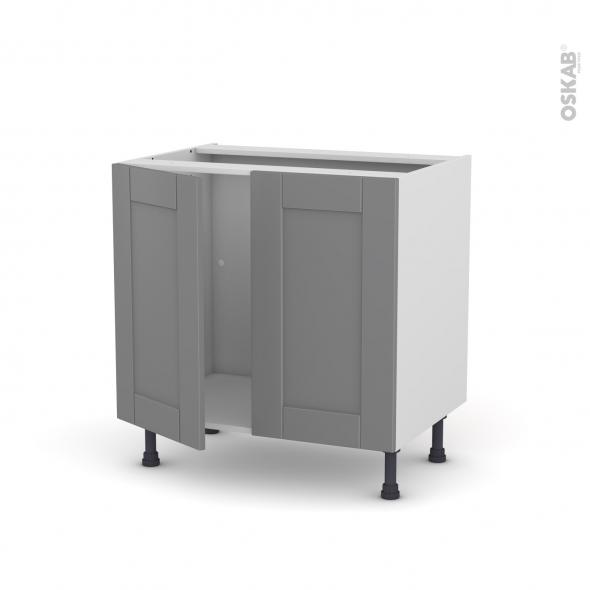 meuble de cuisine sous evier filipen gris 2 portes l80 x h70 x p58 cm