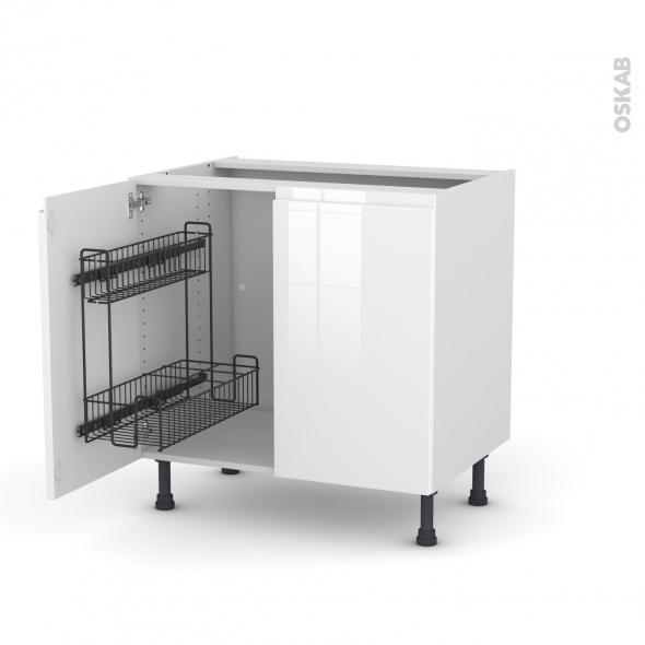 meuble de cuisine sous evier ipoma blanc brillant 2 portes lessiviel l80 x h70 x p58 cm