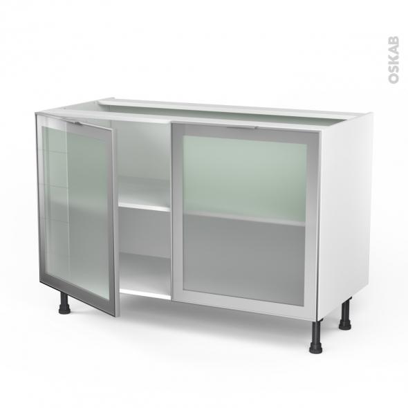 meuble de cuisine bas vitre facade alu 2 portes l120 x h70 x p58 cm sokleo