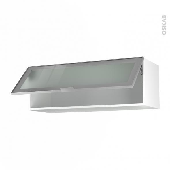 meuble de cuisine haut abattant vitre facade alu 1 porte l100 x h35 x p37 cm sokleo
