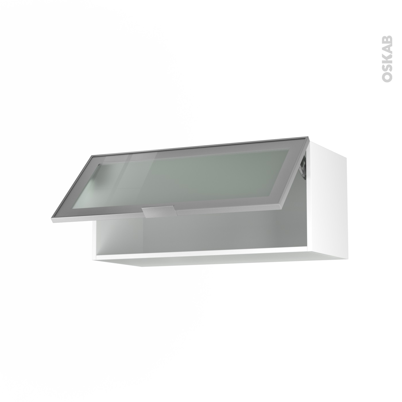 meuble de cuisine haut abattant vitre facade alu 1 porte l80 x h35 x p37 cm sokleo