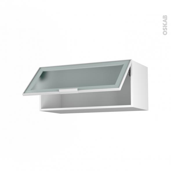 Meuble de cuisine Haut abattant vitr Faade blanche alu 1 porte L80 x H35 x P37 cm SOKLEO  Oskab