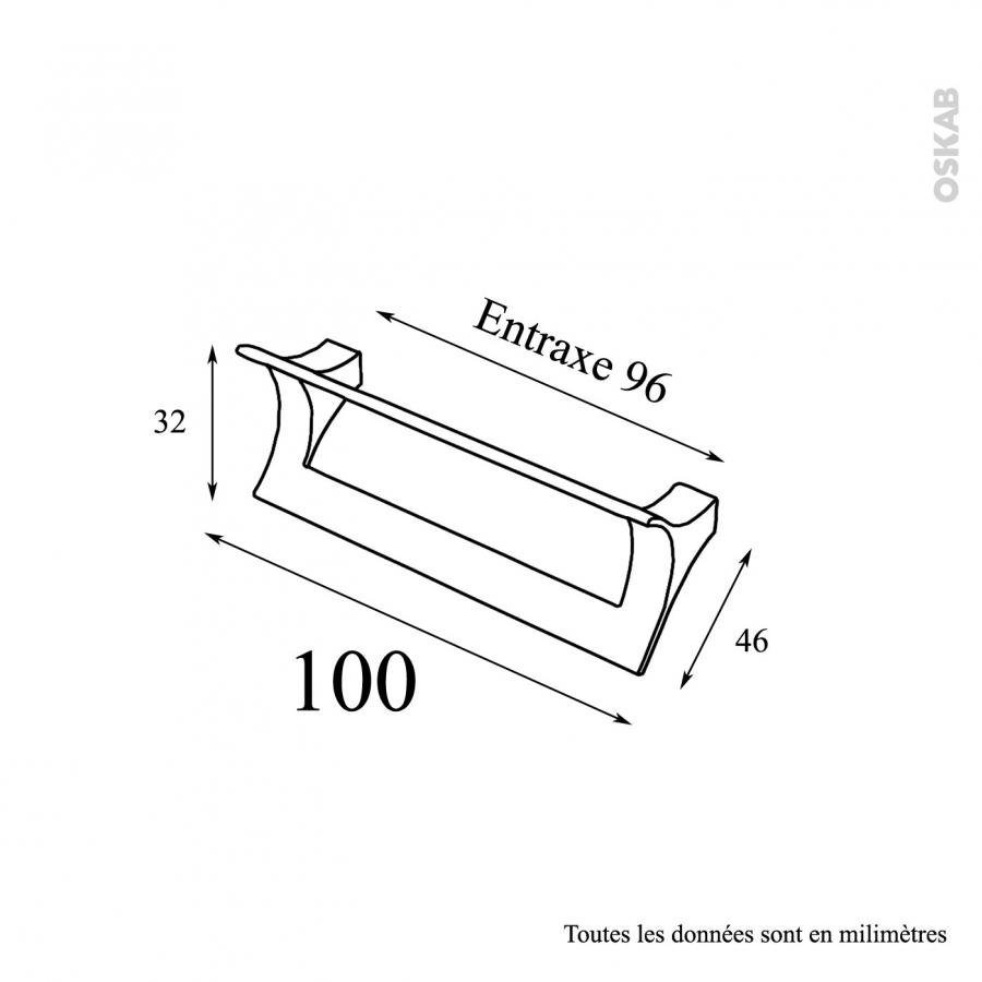 Poignée de meuble de cuisine N°15 Chromé 10,6 cm Entraxe