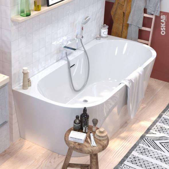 baignoire ilot murale ovale blanche 170x75 cm acrylique renforce zeen