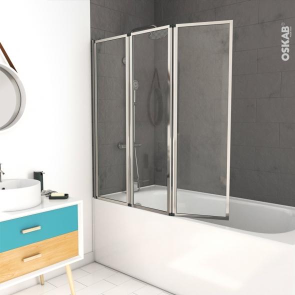 pare baignoire pliant 3 volets vima 125 cm verre transparent profiles chromes