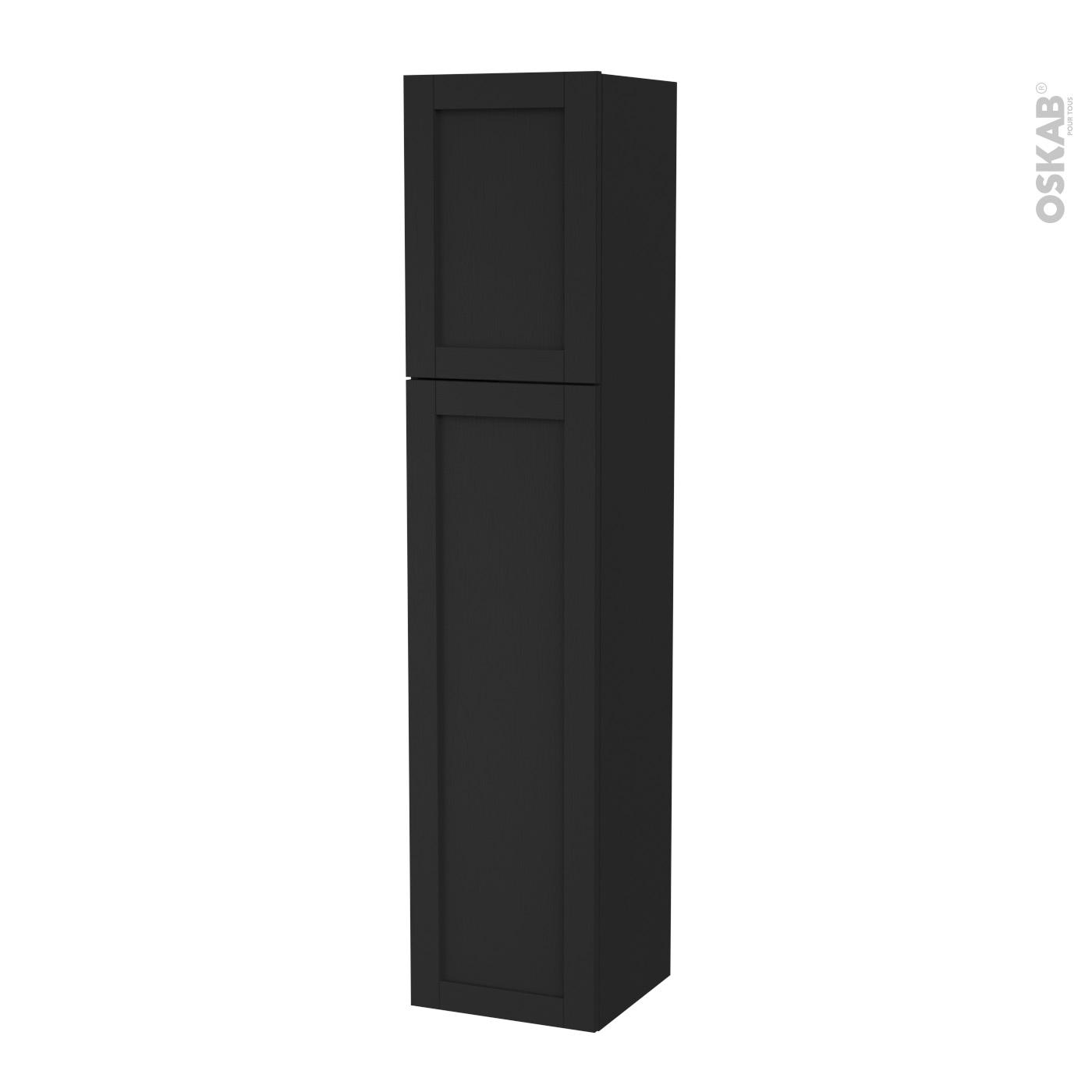 Colonne De Salle De Bains 2 Portes Avara Frene Noir Cotes Decors Version A L40 X H182 X P40 Cm Oskab
