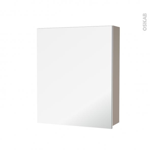 Armoire De Toilette Rangement Haut Ginko Taupe 1 Porte Miroir Cotes Decors L60 X H70 X P17 Cm Oskab
