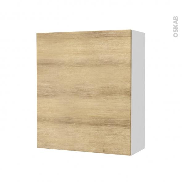armoire de salle de bains rangement haut hosta chene naturel 1 porte cotes blancs l60 x h70 x p27 cm