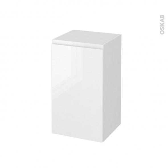 meuble de salle de bains rangement bas ipoma blanc brillant 1 porte l40 x h70 x p37 cm