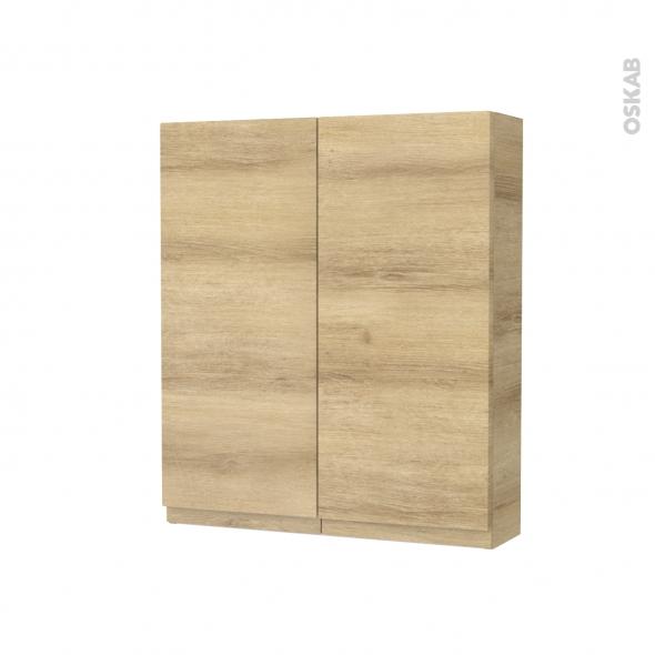 Armoire De Toilette Rangement Haut Ipoma Chene Naturel 2 Portes Cotes Decors L60 X H70 X P17 Cm Oskab