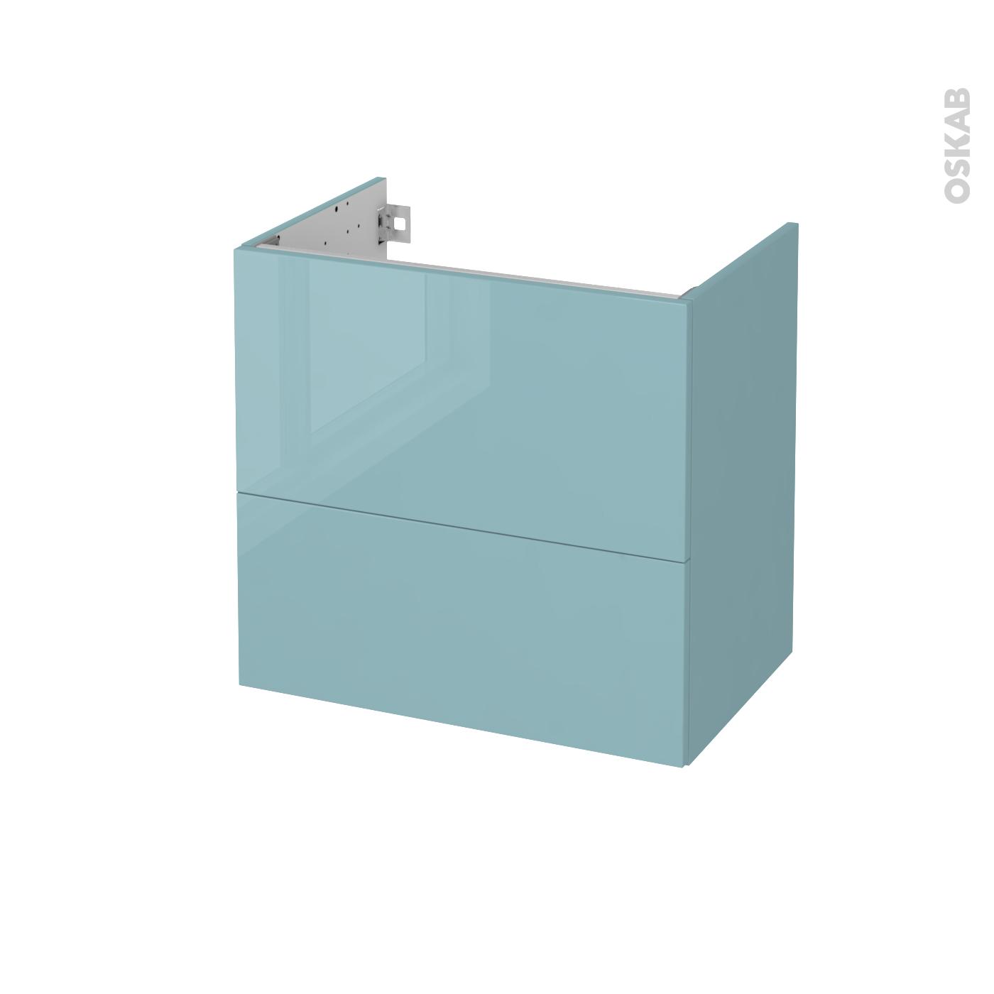 Meuble De Salle De Bains Sous Vasque Keria Bleu 2 Tiroirs Cotes Decors L60 X H57 X P40 Cm Oskab